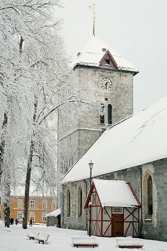 Vår Frue kirke (Virgin Mary church), Trondheim, Norway ~ main building is from late 12th century. Photo: Helena Normark, via Flickr