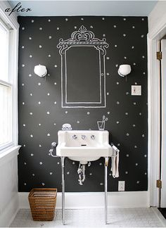 half bathroom-polka dot walled bathroom. Do white below chair rail, black on walls above, white dots. Otherwise, remove chair rail and do it all black