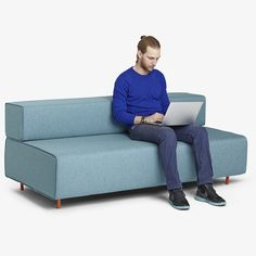 Blue Block Party Lounge Sofa | Lounge Furniture | Poppin