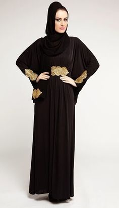 Stylish black Abaya from o3bay made of soft fabric with pleats at waist line, decorated with shimmering Gold thread embroidery at waist and sleeves suitable for  occasional and party wear dress