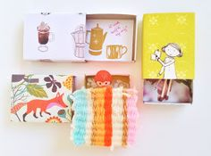 Inspiration: mix- and matchboxes. With photo's and links to matchbox DIY's. A few are made with paper from the Flow Book for Paper Lovers.
