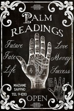 Vintage palm reader sign in chalkboard style. Original art by Mindy Sommers copyright all rights reserved. Tarot, Wicca, Canvas Art Prints, Framed Prints, Framed Canvas, Under Your Spell, Palm Reading, Fortune Teller, Palmistry