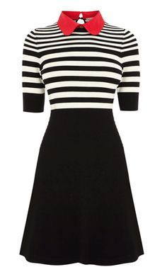 STRIPE POLO KNIT DRESS