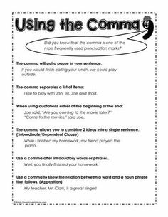 Learn how to use the comma with these free teaching activities, worksheets and posters about the various types of comma. Teaching Punctuation, Punctuation Worksheets, Grammar And Vocabulary, Grammar Lessons, Spelling And Grammar, Printable Worksheets, English Homework, English Class, English Grammar