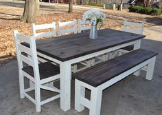 Farmhouse Table w/ Square 4 x 4 Legs Custom von SimplySouthernHome