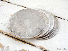 5 Vtg medium COASTERS silver plated round coasters vintage tea
