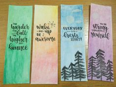 #calligraphy #watercolour #bookmarks #quotes Bookmarks Quotes, Best Bookmarks, Creative Bookmarks, Bookmarks For Books, Paper Bookmarks, Watercolor Bookmarks, Watercolor Calligraphy Quotes, Calligraphy Quotes Doodles, Doodle Quotes