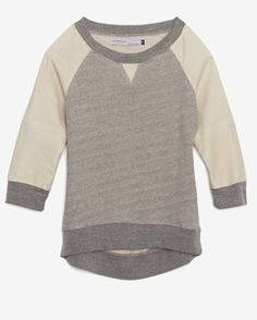 Modern Saints Perforated Leather Sleeve Raglan Sweatshirt | Hukkster