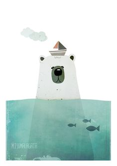 DinA4  Digital illustration print  Polar bear by missmalagata, €20.00