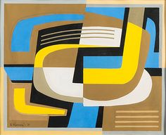 "Sam Vanni (b. 1908 - d. Finnish), ""Sommitelma"", Gouache, Size: 41 x 50 cm. Abstract Art, Abstract Paintings, Bukowski, Gouache, Modern Contemporary, Color Blocking, Symbols, Quilts, Painters"