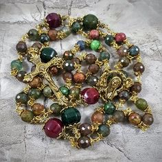 Multi Color Agate Rosary for Vitality, Balance, Protection, Prosperity