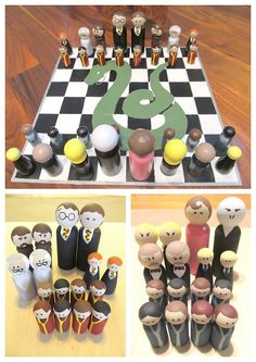 diychristmascrafts: DIY Easy Harry Potter Peg People Chess Set and Case Tutorial from instructables here. These are so cheap to make and I p...