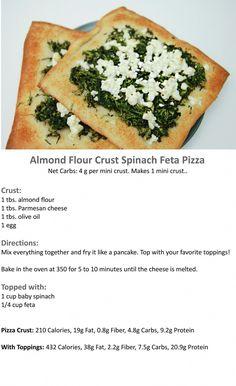 Almond-Flour-Crust-Spinach-Feta-Pizza- sub almond flour for baking blend Ketogenic Recipes, Low Carb Recipes, Vegetarian Recipes, Cooking Recipes, Healthy Recipes, Scd Recipes, Meal Recipes, Greek Recipes, Recipes Dinner
