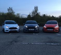 Ford Squad Goals:  -Fiesta ST White -Focus ST Stealth Grey -Fiesta ST Race Red Ford Fiesta St, Squad Goals, Ford Focus, Saints, Racing, Cars, Autos, Goal, Running