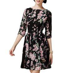 6e2177fefb4 Allegra K Women s 3 4 Sleeve Round Neck Floral Print Fully Lined Skater  Dress Black