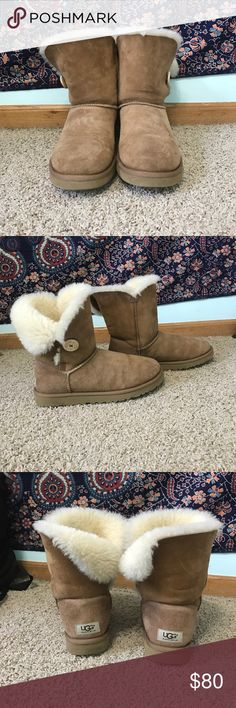 Bailey Button Chestnut Uggs very warm and already broken in uggs! good condition with tear on seam shown in last picture. barely noticeable. UGG Shoes Winter & Rain Boots