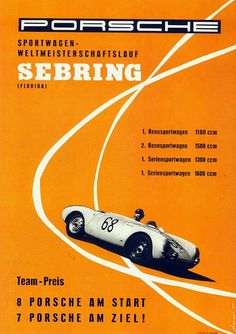 racing, advertising, classic posters, free download, free posters, free printable, graphic design, printables, retro prints, sports, vintage, vintage posters, vintage printables, Porsche Sebring - Vintage Racing Poster