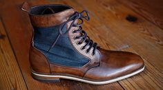 "A nice pair of boots with just a touch of U.S.A. made denim. ""HELM has partnered with North Carolina based Raleigh Denim to insert their US-loomed denim (by Cone Mills) into the Ray Ray style – an existing boot style …"