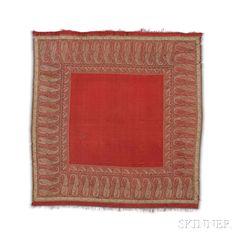 Rumal Shawl, Kashmir, c. 1830, 5 ft. 4 in. x 5 ft. 2 in.    Skinner Auctioneers Sale 2942T