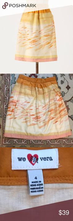 """Anthropologie We Love Vera Goldfish Bowl Skirt EUC 🔹We Love Vera from Anthropologie  🔹""""Goldfish Bowl Skirt"""". Side zip. High waist.  🔹Size 4  🔹Silk  🔹Excellent used condition!  🔹Waist: 12.75"""" across the front, lying flat.   🔹Length: 20.5"""" from middle top to bottom hem.   ✳️ Bundle to Save 20%!  ❌ No Trades, Holds, PP, Modeling  🎀 100% Authentic!   ⭐️⭐️ Suggested User • 2000+ Sales • Fast Shipper • Best in Gifts Party Host! ⭐️⭐️ Anthropologie Skirts"""