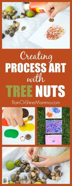 Creating Process Art with Tree Nuts – Rain or Shine Mamma Process Art with Tree Nuts. A child-led, open-ended art activity for preschoolers and kindergartners. A perfect nature art project for fall! Rain or Shine Mamma. Preschool Art Activities, Nature Activities, Outdoor Activities For Kids, Art Therapy Activities, Learning Activities, Preschool Activities, Preschool Age, Outdoor Learning, Outdoor Play