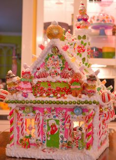 Have Yourself a Merry Little Christmas by cathypagedaniel on Etsy Homemade Gingerbread House, Gingerbread Christmas Decor, Gingerbread House Parties, Christmas Candy, Christmas Cookies, Gingerbread Houses, Christmas Decorations, Christmas Houses, Pink Christmas