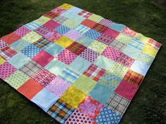 Hand-tied, no batting, beach quilt.