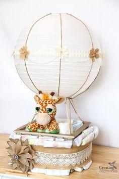 DIY Hot Air Balloon Diaper Cake Tutorial Easy Hot Air Balloon Diaper Cake for a fabulous Baby shower<br> Regalo Baby Shower, Deco Baby Shower, Diy Shower, Baby Shower Diapers, Baby Shower Themes, Baby Boy Shower, Shower Ideas, Diaper Shower, Cute Baby Shower Gifts