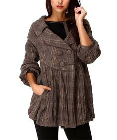 Another great find on #zulily! Taupe & Black Plaid Button-Front Jacket #zulilyfinds