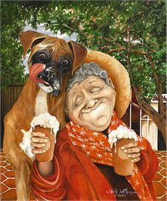 Dog sharing a drink ~ Shelly Wilkerson...Re-pinned by StoneArtUSA.com ~ affordable custom pet memorials since 2001