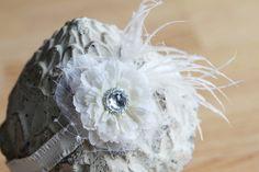 Elegant White Flower Headband, Newborn Baby Toddler Girl Headband, Photo Prop, Flower Girl or Christening Headband. $11.95, via Etsy.