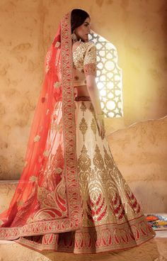 Beige Lehenga Choli, Banarasi Silk Lehenga Choli, $576.63. Buy latest Lengha choli with custom stitching and worldwide shipping.