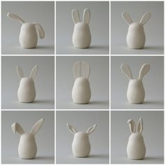 Ceramic bunnies where the ears tell ALL the stories.