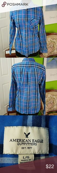 """American Eagle Outfitters Cotton Flannel Shirt I love this shirt! I love the faded look. I write It once.  It is so soft, 100% cotton. I just wish it fit me still.  Measurements 🙂 Armpit to armpit 20"""" 🙂 Top Seam to bottom hem 25"""" 🙂 Sleeve length 24"""" American Eagle Outfitters Tops Button Down Shirts"""