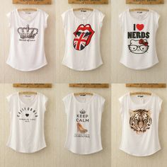 Free shipping 2014 New Fashion Punk Women T Shirt Brand Letters Printed T-shirts Summer Short Sleeve tops white tees