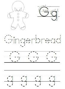 Alphabet ABC letter G Gingerbread coloring page ...