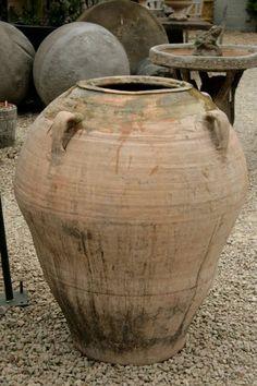 Large late 19th Century Spanish terracotta olive pot