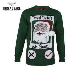 Mens Threadbare Funny Dating Santa 3D Hat Pom Pom Christmas Jumper Xmas Sweater