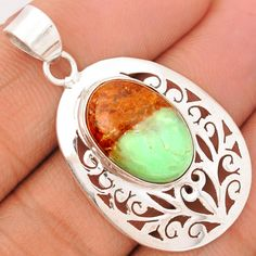 Boulder Chrysoprase 925 Sterling Silver Pendant Jewelry BCPP325