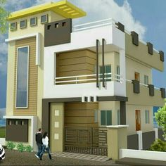 Modern House Front E iulevation 2019 House Front Wall Design, House Outside Design, Unique House Design, Modern Design, Duplex House Design, Duplex House Plans, Modern House Plans, West Facing House, House Elevation