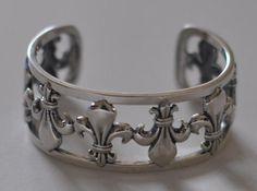 Sterling Silver Fleur-de-Lis Cuff Bracelet by OnTargetJewelry