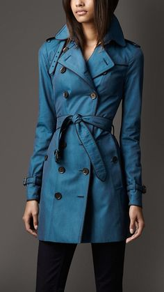 Mid-Length Contrast Trim Cotton Gabardine Trench Coat | Burberry