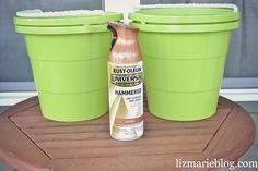 fall porch. DIY Dollar store planters lizmarieblog.com