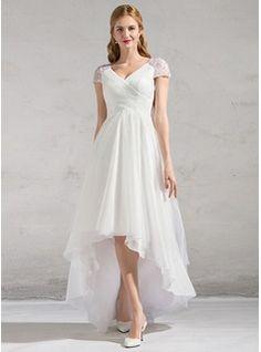 A-Line/Princess V-neck Asymmetrical Tulle Wedding Dress With Ruffle Beading Sequins (002081893) - Wedding Dresses - JJsHouse