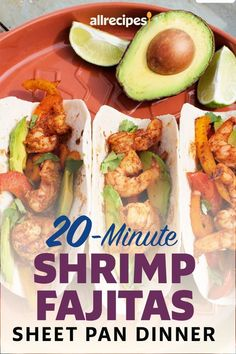 "20-Minute Shrimp Fajitas Sheet Pan Dinner | ""These shrimp fajitas are made on a sheet pan--the best 20-minute meal ever."" #easy #easyrecipes #quickandeasy #easyrecipesideas #dinner #supper #sheetpandinner #easydinnerideas #sheetpansupper #easysupperideas"