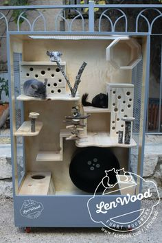 Wooden chinchilla cage by Lenwood Chinchillas, Cage Chinchilla, Sugar Glider Cage, Sugar Gliders, Parakeet Cage, Bunny Room, Hamster House, Guinea Pig Toys, Animal Room