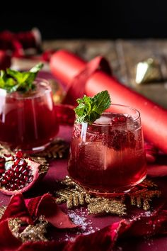 Celebrating the man of the season with The Santa Clause Smash. This festive cocktail is the perfect cozy winter cocktail that Santa. Winter Cocktails, Raspberry Cocktail, Fresh Mint Leaves, Christmas Drinks, Christmas Time, Holiday Time, Half Baked Harvest, Punch Recipes, Ginger Beer