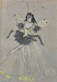 Danseuse chrysalide Trois danseurs chrysalides, verso par Christian Bérard