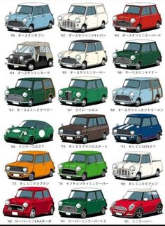 Mini car save traffic,doesn't it? Cleaning components of mini car, contact us: holly Mini Cooper Classic, Classic Mini, Classic Cars, Mini Countryman, Mini Clubman, Mini Copper, Car Illustration, Car Posters, Car Drawings