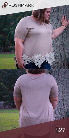 ❤️FINAL SALE❤️ Mocha short sleeve lace trim top Mocha lace trim top Tops Blouses